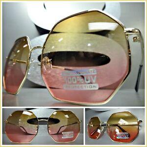 Vintage Retro Style Fashionable Octagon Gold Frame Round Blue Lens Sunglasses