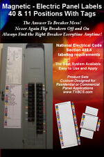 Circuit Breaker Panel Directory Labels  40 & 11 Positions With Tags Magnetic