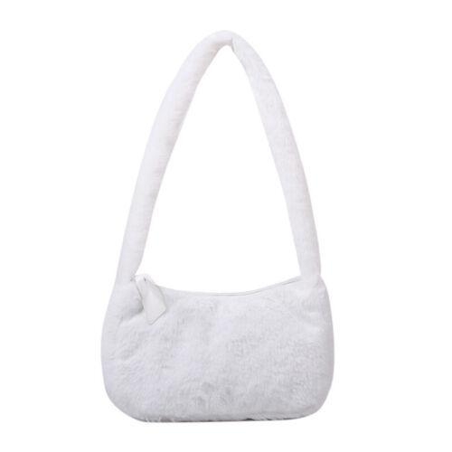 Women/'s Winter Plush Fur Shoulder Underarm Bag Soft Fluffy Warm Totes Handbag A+