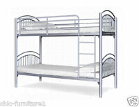 Yorkshire Metal Bunk Bed With 2 Mattresses Free P&p