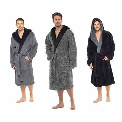Mens Luxury Super Soft Fleece Dressing Gown Bath Robe Plush Thick Warm Snuggle
