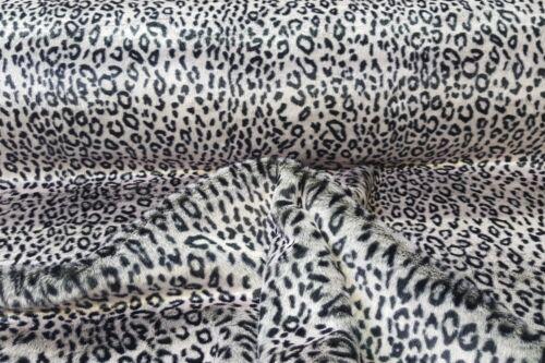 Webpelz Langhaar kuscheliges Kunstfell Stoffe Fell Schwarz-Weiß Leopard NB2503