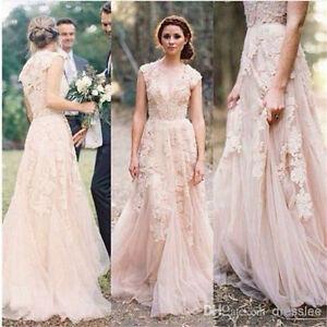 Cap-Sleeve-Vintage-Lace-Wedding-Dress-Bridesmaid-Bridal-Pageant-Gown-Custom