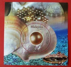 Malaysia-Pearls-2015-Shell-Decoration-ms-MNH-unusual-Glitter-Foil-Emboss-odd