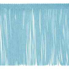 """By the Yard 6"""" Light Blue Chainette Fabric Fringe Lampshade Lamp Costume Trim"""