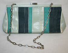 Kenneth Cole Womens Ladies Leather Light Green Teal Clutch Purse Handbag