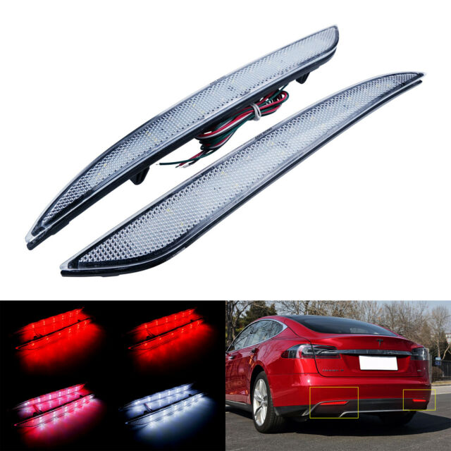 Clear Lens LED Rear Bumper Reflector Tail Reverse Brake Light For Tesla S 2012+