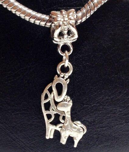 Giraffe Mother /& Child/_Bead for Silver European Chain Charm Bracelet/_Mom Baby