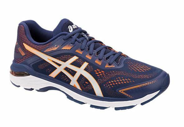 Nuevo ASICS para hombre GT-2000 7 Azul Índigo Naranja impactantes zapatos para correr 1011A158.400