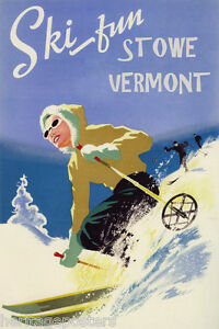 Image Is Loading Downhill Skiing Ski Fun Stowe Vermont Winter