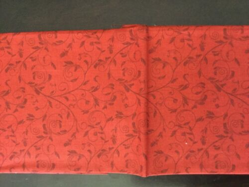 Red background with Darker leaves and flowers fat Quarters FQ