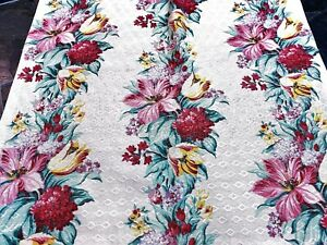 30's Cottage Summer Garden Barkcloth Vintage Fabric Drape Curtain DIY 4 Avail.