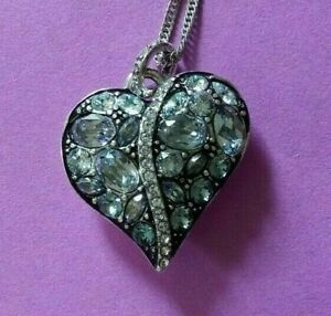 Brighton-Trust-Your-Journey-Heart-Necklace-Blue-Silver-Swarovski-Crystal-NWPOUCH