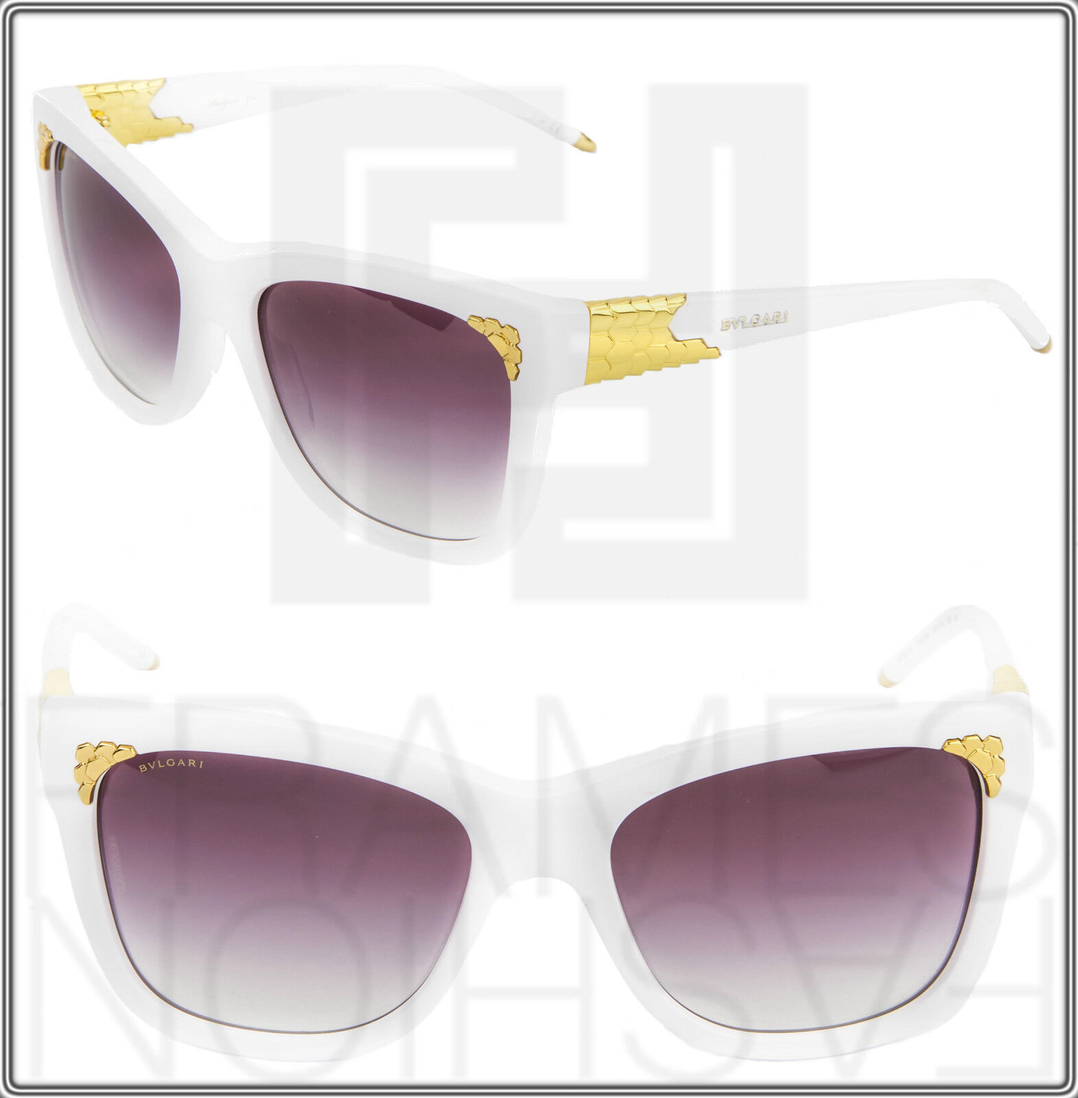 BVLGARI Serpenti BV8134K White 24K Gold Sscales Plated Edition Sunglasses 8134