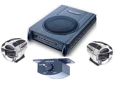 Under seat Compact Amplified Subwoofer,remote speakers fit where no others will&