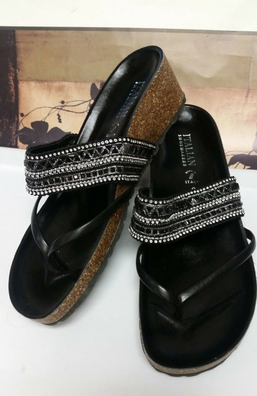 Italian Shoe Makers Kinsley Women US 9 Black Owned Wedge Heel Pre Owned Black  EUC 1fbaaa