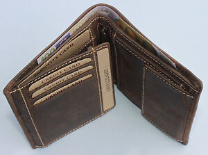 Geldboerse-Naturleder-Brieftasche-Geldbeutel-Rindleder-Robust-Portmonai