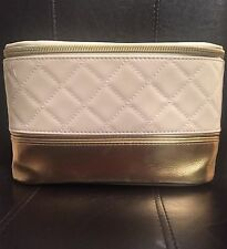 Elizabeth Arden Beige & Gold Cosmetic Makeup Case Top Handle  SOFT case