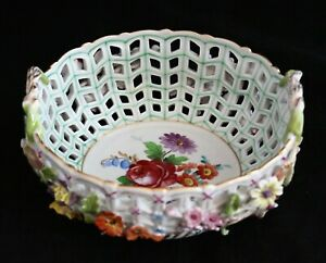 Carl-Thieme-Dresden-hand-painted-Applied-Flowers-Reticulated-Handled-Basket-Bowl