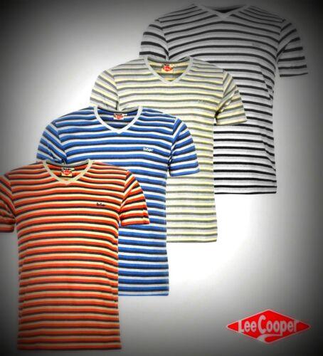 New Mens Designer Lee Cooper Lightweight Yarn Dye V Neck T Shirt Top Size S-XXL
