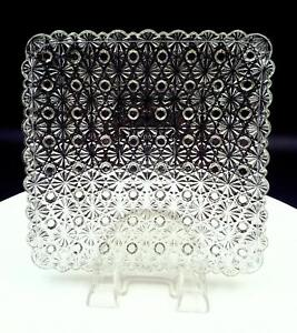 EAPG-CLEAR-DAISY-AND-BUTTON-HEAVY-SQUARE-7-034-DESSERT-SALAD-PLATE-1850-1910