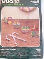 Bucilla Christmas Choo Choo Plastic Canvas Ornament Kit 60615 Set Of 4
