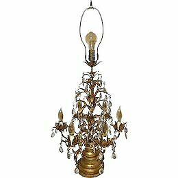 Antique-Crystal-GOLD-Leaf-table-lamp-Girandoles-candelabra-Italian-Rococo