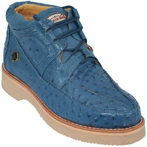 Los Altos Genuine JEAN blueE Ostrich Casual shoes Lace Up Handmade Sneaker EE