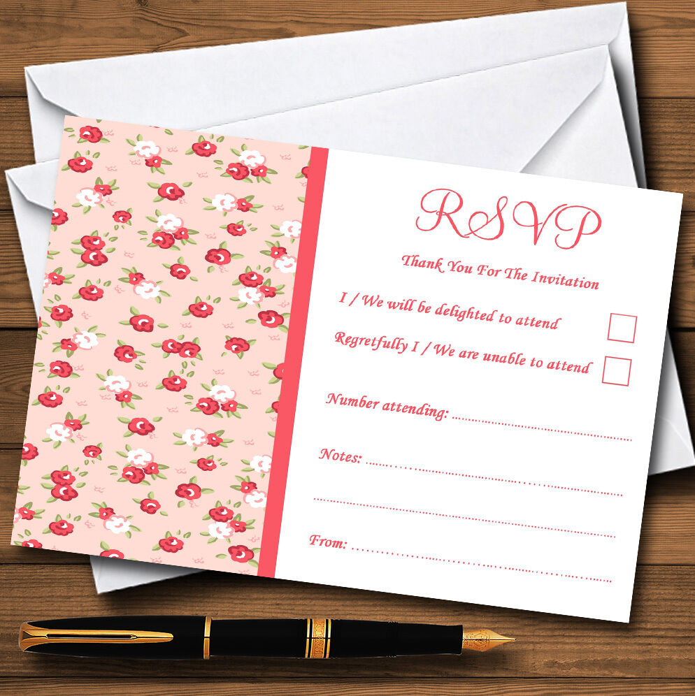 Rouge et rose corail rsvp floral shabby chic chintz personnalisé rsvp corail cartes b0427e