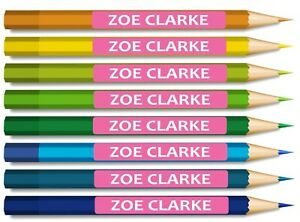 50 x Kids Pencil Pen Stationary Name school labels personalised Stickers Small