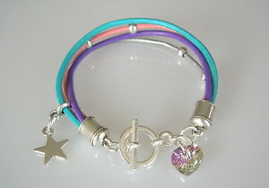 Kinderarmband-Herz-Stern-Leder-tuerkis-rosa-lila-silberfarbig-Kinder-Lederarmband
