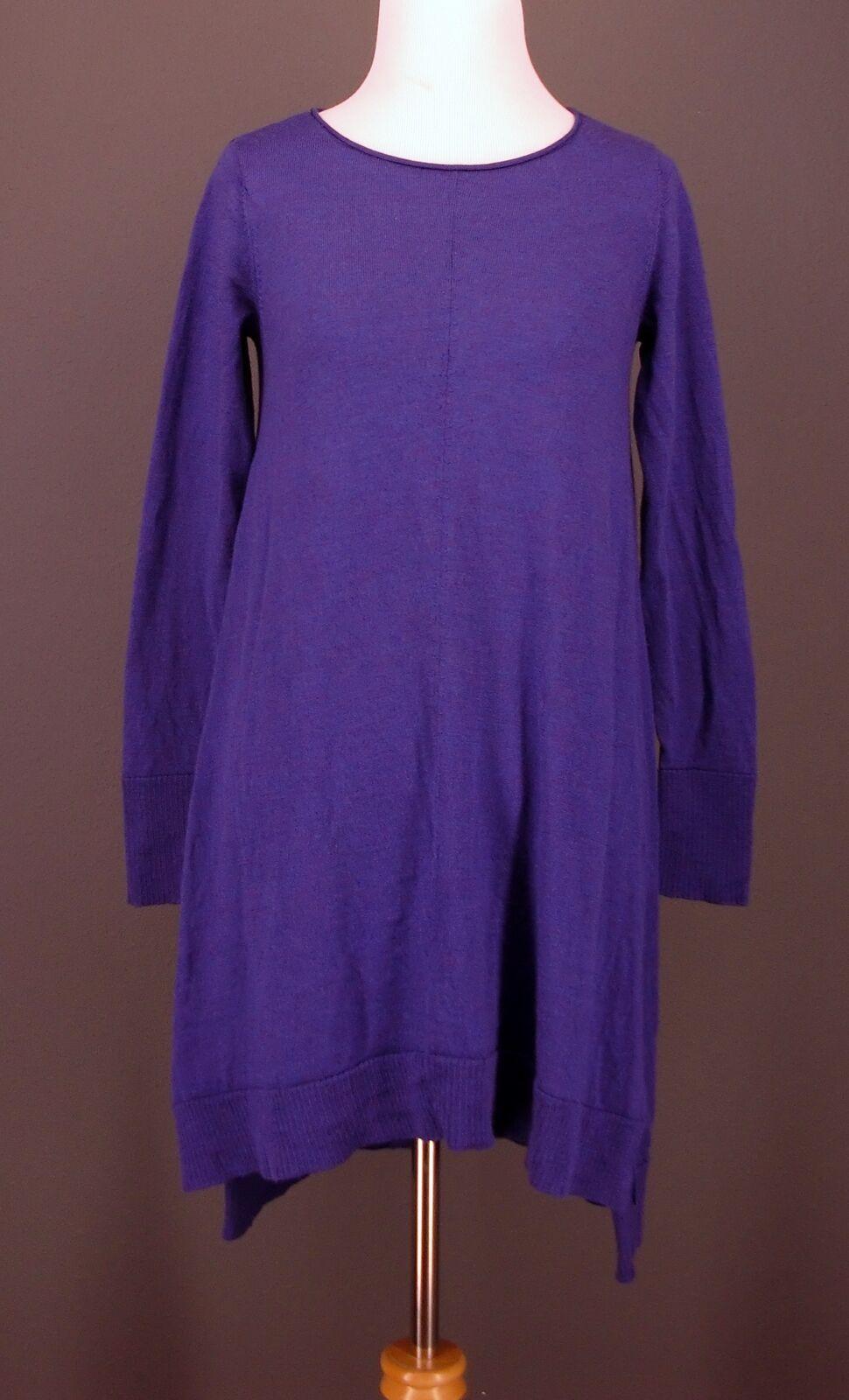 EILEEN FISHER Sweater Sweater Sweater XS Purple F3MF-4 Sharkbite Tunic 100% Merino Wool 125cc9