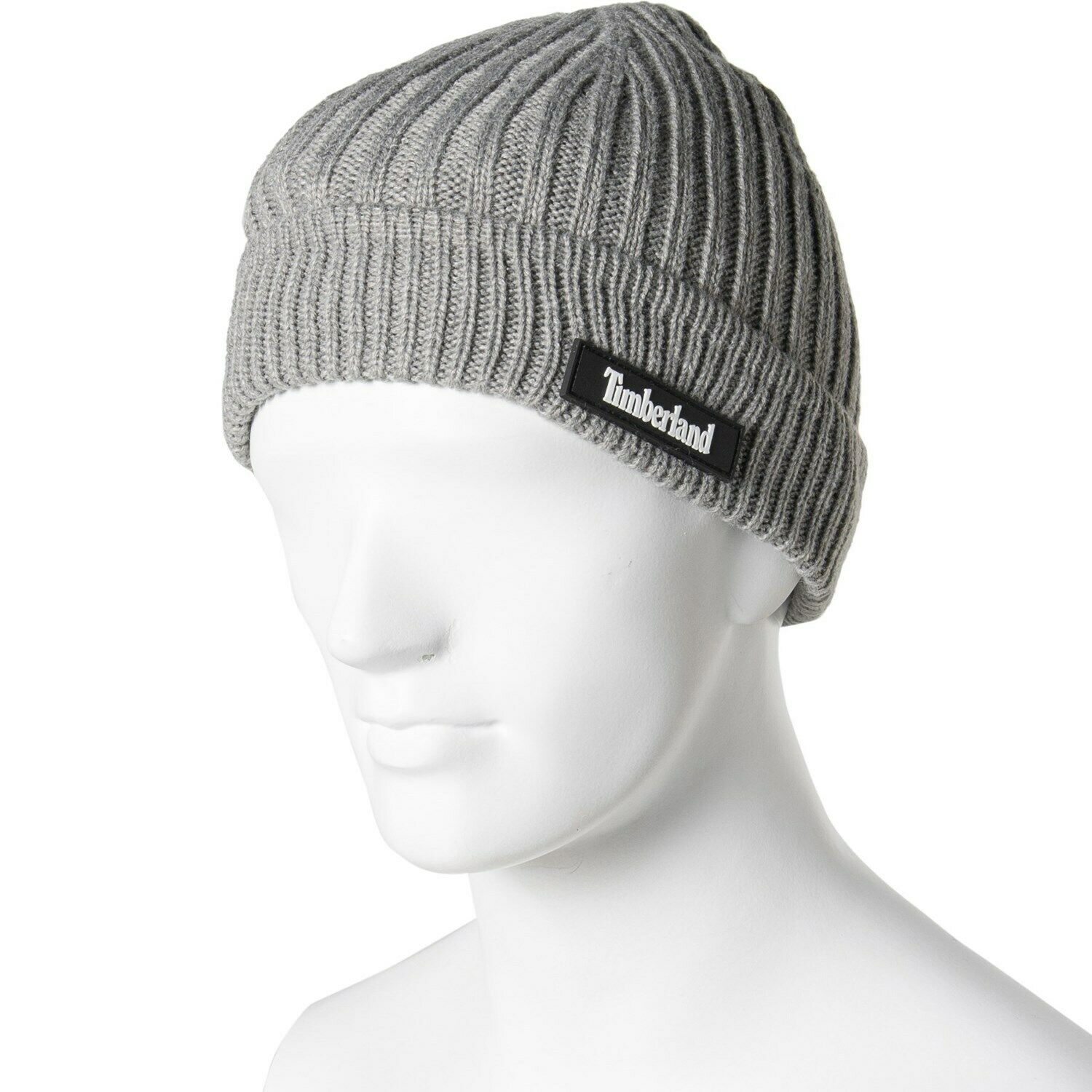 Light gray Timberland beanie with a script tag on the side