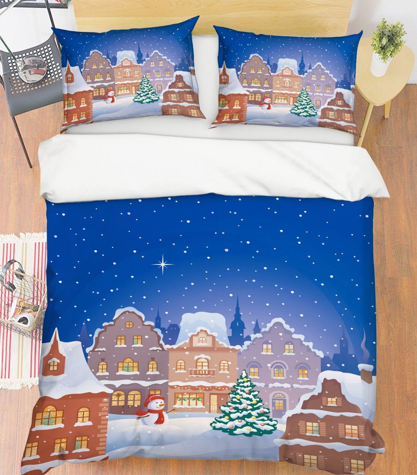 3D Christmas Xmas Starry 8 Bed Pillowcases Quilt Duvet Cover Set Single Queen UK