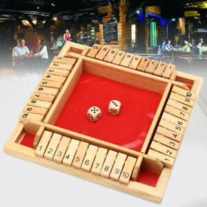 Traditional Shut the Box Wooden Board Number Drinking Dice Toy Entertainment Set