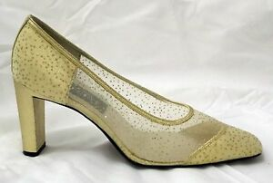 Fashion-Influences-Pumps-Gold-Glitter-Mesh-Fabric-Evening-Heels-Shoes-size-8