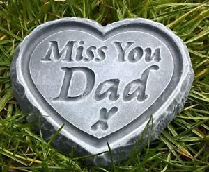 miss you dad engraved stone heart memorial grave. Black Bedroom Furniture Sets. Home Design Ideas