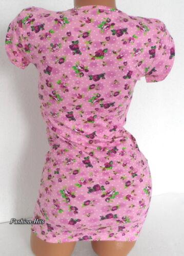 Longshirt Shirt Minikleid Top Rosa Blümchen Dots mit weißen Bustier XS S 34 36