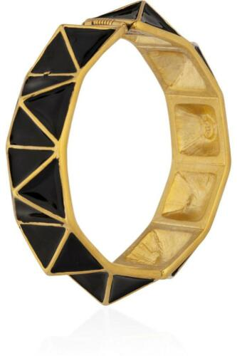 Kenneth Jay Lane Pyramid Bangle Bracelet Black Enamel Geometric Gold NEW