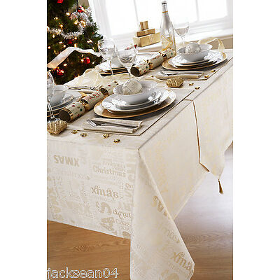 "CHRISTMAS GREETINGS CREAM GOLD TABLE RUNNER 13"" X 72"""