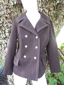 1960s-MOD-Vintage-Womens-Double-Breasted-Wide-Lapels-Jacket-Blazer-Medium-Brown