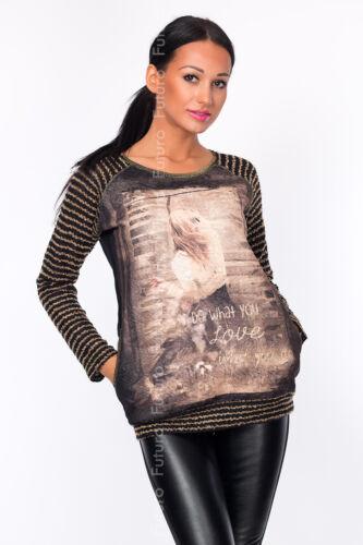 Maglione Donna con Tasche fare ciò che U LOVE Print Top Tunica Sudore Taglie 8-12 FW29
