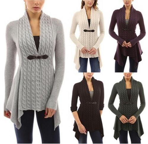 Damen Cardigan Strickjacke Mantel Weste Pullover Longshirt Bluse Winter Jacke GS