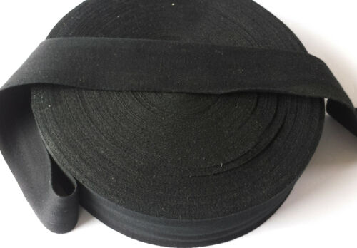 "50mm 2/"" BLACK 100/% Cotton Herringbone Twill Fabric sewing Bunting strap x 50 Mtr"