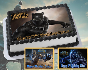Image Is Loading Black Panther Edible Cake Topper Decoration Personalized Party