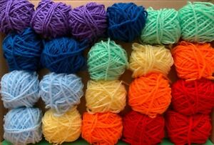 Rainbow-Yarn-Wool-Job-Lot-Knitting-Crochet-Squares-Pompom-Crafts-Toys-Bundle-DK