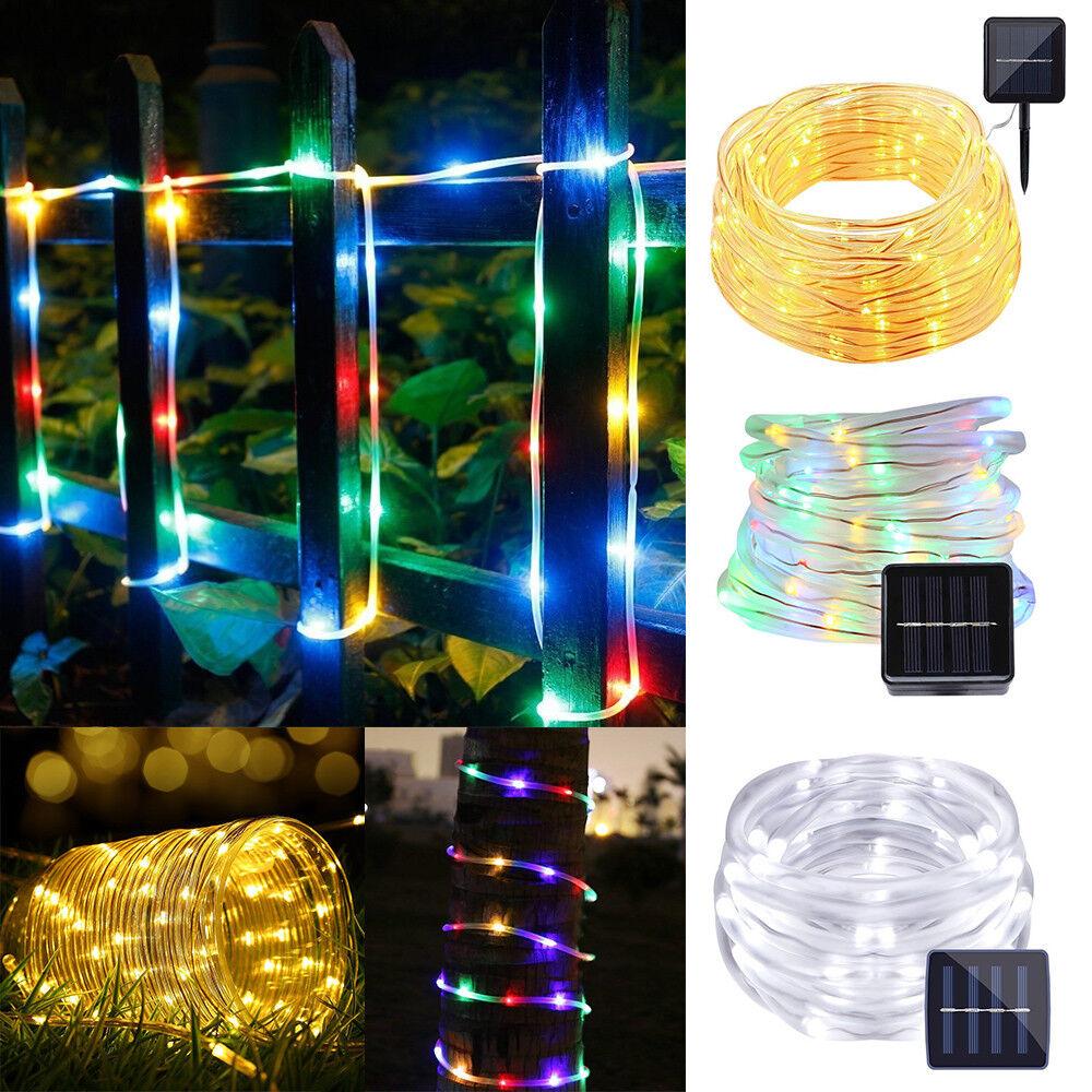 12M 100LED Waterproof Solar Power String Fairy Light Rope Tube Garden Lamp Xmas 2