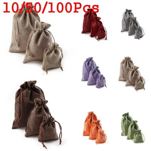 Sack Linen Candy Organizer Jute Gift Bags Wedding Favor Drawstring Pouch