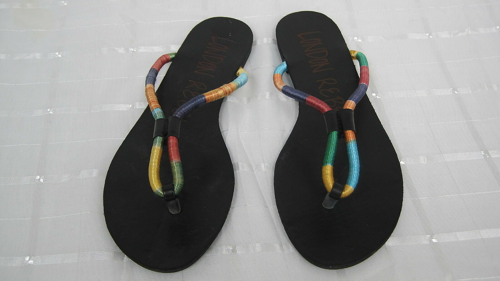NEW! Women's  London Rebel JESTER Flip Flop/Thong Sandals Medium Black/Multi  7F