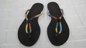 NEW-Women-039-s-London-Rebel-JESTER-Flip-Flop-Thong-Sandals-Medium-Black-Multi-7H